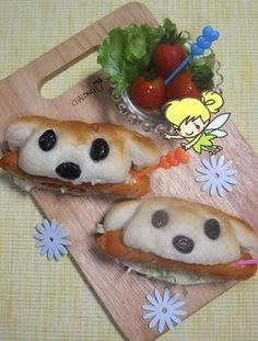 ウインナーくわえた犬?!ホットドッグ~♪   Hot Dog ( recipe in Japanese)