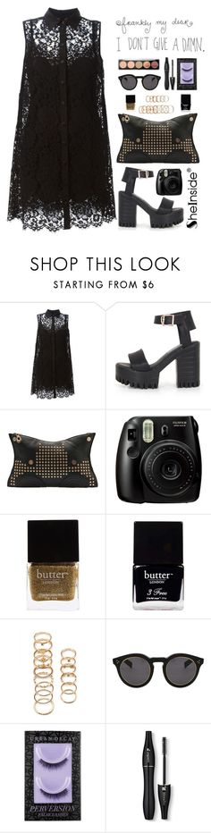 """SheIn 1"" by scarlett-morwenna ❤ liked on Polyvore featuring Dolce&Gabbana, Butter London, Forever 21, Illesteva, Urban Decay, Lancôme, blackandgold, tumblr and shein"