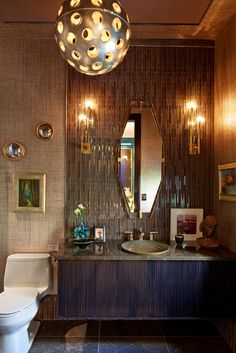 "Interior designer Charles Pavarini III featured Max's Metallic Raffia 3545 Bronze in the bathroom of his ""Midnight Manhattan"" installation for the 2015 Kips Bay Showhouse. Interior Work, Luxury Interior, Bathroom Interior, Kips Bay Showhouse, Bathroom Wallpaper, Contemporary Interior Design, Beautiful Bathrooms, Bathroom Renovations, Small Bathroom"