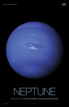 Neptune Poster – Version A Version A of the Neptune installment of our solar system poster series.