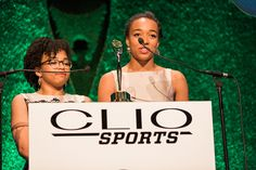 The daughters of Stuart Scott, Taelor and Sydni Scott, accepted their father's Lifetime Achievement Award on his behalf.