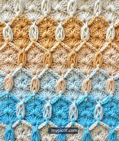 Learn A New Crochet Stitch: Honeycomb And Shells Stitch – Knit And Crochet Daily – Awesome Knitting Ideas and Newest Knitting Models Crochet Afghans, Crochet Motifs, Crochet Stitches Patterns, Tunisian Crochet, Crochet Chart, Free Crochet, Stitch Patterns, Knitting Patterns, Picot Stitch Crochet