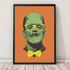 Stylisches Frankenstein Poster vom angesagten Künstler Victors Beard. Dieses Poster gibt jedem Zimmer das richtige Flair! Dieses Frankenstein Poster ist Kult  Frankenstein`s Monster, wie Victors Beard es sieht.