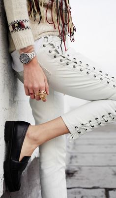 Isabel Marant White Lace Up Leather Pants by The Blonde Salad