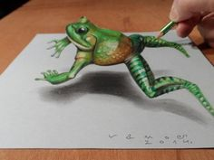 "Trick art on paper. How to draw 3D frog.<br />How to draw a realistic frog. Awesome animal.<br />Mixed media.<br />Materials used: <br />Pastell paper: light gray.  <br />H graphit pencil (Derwent) <br />Grey markers: Letraset PROMARKER cool grey <br />Prismacolor colored pencils.<br />Black and White ""charcoal"" pencil.<br />Soft eraser.<br />Music: Stomp It Away - Silent Partner,<br />Drawing and painting is good!<br />Magic realism.<br />How to drawing. How to painting.<br />Speed drawing…"