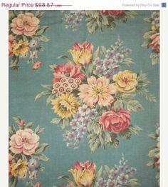 Surprise 30 Off Sale Shabby Vintage Barkcloth Cotton by RuinsCa, $69.00