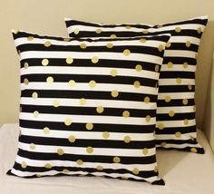 Set of 2 Black white striped gold polka dots pillow covers shams 18 x 18 geometric design sofa throw couch bed