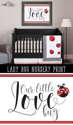 Ladybug Nursery Art Print Ladybug Bedroom. Ladybug baby bedding ideas and decor by SwankyPrintables