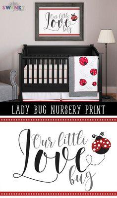 Ladybug Nursery Art Print Ladybug Bedroom. Ladybug baby bedding ideas and decor by SwankyPrintables