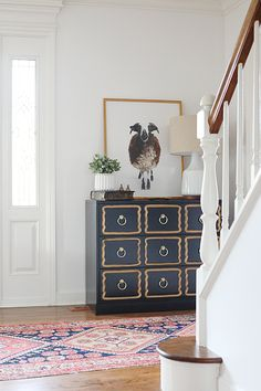 Dorothy Draper Dresser - Interior styling with the artwork Kingdom by Randal Ford. I love the masculine Jacob Sheep with the Dorothy Draper Hollywood Regency glam.