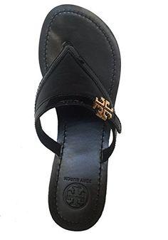 5276df4366a0 Tory Burch Eloise Flat Thong Tumbled Mestico Sandal Flip Flop TB Logo Black  Size 8.5