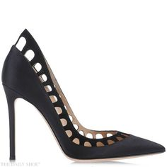 Silk-Satin and Suede Cutout Pump by GIANVITO ROSSI | http://www.thedailyshoe-official.com/2015/08/19/silk-satin-suede-cutout-pump-by-gianvito-rossi/