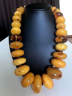 Antique/old large yellow color Baltic Amber beads (329.9 g.) 37E
