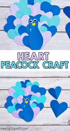 Fall in love with this heart peacock craft! So cute, easy and colorful- a peacock made from hearts! #ArtAndCraft