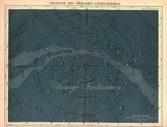 vintage star Charts | 1887 BEAUTIFUL Teal Colored Vintage Star Chart NORTHERN STARS German ...