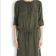 Vince Army Green Shirt Dress Vince shirt dress.  Army green. Buttons and front pocket detail. Drawstring waist. Worn twice. Vince Dresses