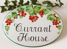 I'm in the mood for red & white (Celebrating Canada Day this weekend! Let's pin a Red Currant House. Cottage Names, Cottage Signs, Colorful Fruit, Colorful Garden, Welcome Signs Front Door, House Plaques, Beach House Signs, Farm Signs, Blue Garden