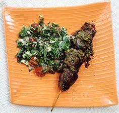 lamb kebabs with parsley coconut salad