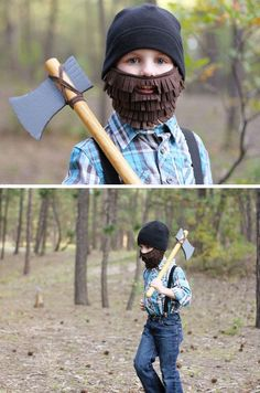 Lumberjack with Beard and Axe   Click for 24 DIY Halloween Costumes for Kids to Make   DIY Halloween Costumes for Boys