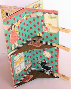 DIY project tutorial, create a 2-floor little house pop-up book that hosts a children's world of textured and layered room...