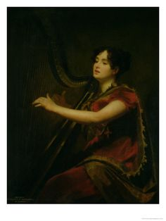 La marquise de Northampton jouant de la harpe, circa 1820 - par Sir Henry Raeburn