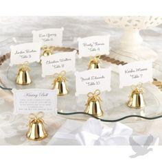 Gold Kissing Bells Place Card Holder