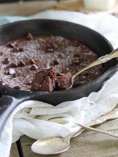 Paleo cast iron skillet brownies. Fudgy, decadent, grain free, gluten free.