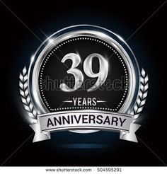 39 years silver anniversary logo with laurel wreath, ribbon and silver ring. vector design