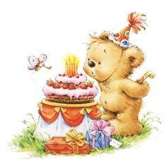 4 Teddy Bear Decoupage Napkins Kids' Paper Napkins Baby Shower Birthday Party Birthday Cake Paper Na