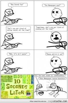 Cereal guy & Newspaper guy switch it up.