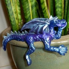 Whimsical Purple, Blue, and Silver Shelf Sitter Dragon Sculpture   CreativeCritters - Dolls & Miniatures on ArtFire