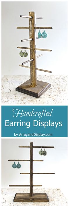 Handcrafted jewelry displays made of locally sourced new and reclaimed wood. Handcrafted in the USA by ArrayandDisplay.com. Earrings displays, earrings stands, earring trees booth displays, boutique displays, craft market displays, wood jewelry displays.
