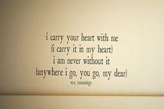 e.e. cummings - I carry your heart #poem