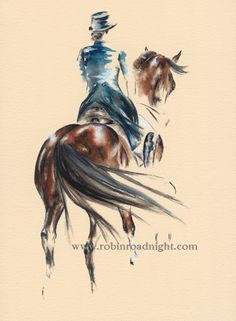 'Passage' Original watercolour painting of a dressage horse and rider. Minimal style, rear profile. By Robin Roadnight Equestrian Art.
