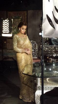 Dia Mirza In A Stunning Gold Glitter Sabyasachi #Saree At The Wedding Times Photoshoot.