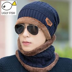 knit scarf cap neck warmer Winter Hats For Men women Outdoor Baggy Beanies  Fleece mask Knit hat Bonnet balaclava 76598133e5e0