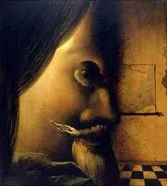 optical illusion I see the face of a man and a lady holding something. You?