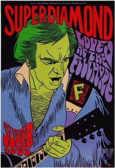 Original concert poster for Super Diamond at the Fillmore in San Francisco, CA. 13