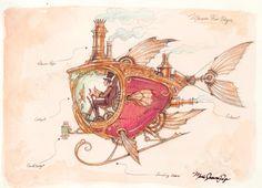 My art prints of Steam Ships. Love steam punk!