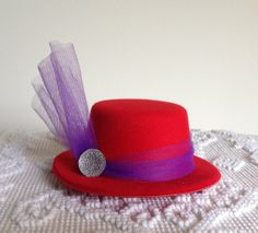 Royal Tea Hats - Red Hat Society handmade fascinator hat clips to hair - for tea parties, cocktail party, wedding and bridal showers, derby