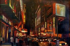 "42 Street, New York City Night Scene, Original Oil Painting 24""x36"" HALL GROAT II"
