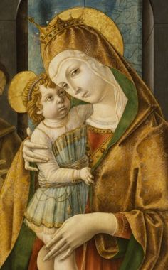 By Carlo Crivelli (ca. 1430-1495), ca. 1485-90, Madonna and Child with Saints and Donor, tempera and oil on panel, 	Italian Renaissance.