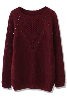 Studded Wine Red Knit Sweater
