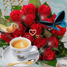 The perfect Rose Morning Coffee Animated GIF for your conversation. Good Morning Gift, Good Morning My Friend, Good Morning Coffee, Good Morning Flowers, Good Morning Greetings, Good Morning Beautiful Pictures, Beautiful Gif, Happy Weekend Images, Happy Day
