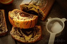 Fluffy cake with cocoa and orange Loaf Cake, Sweet Bread, Cake Cookies, Coco, French Toast, Cheesecake, Sweets, Cooking, Breakfast