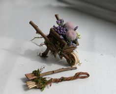 Fairy Garden wheelbarrow by Olive ~ garden tools included. See other listings for wheelbarrow including Fairy! Fairy NOT included in this