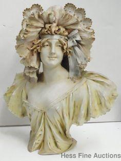 Lg Antique Sgd Ed Stellmacher Art Nouveau Bohemian Austrian Teplitz Ceramic Bust #ArtNouveau #Stellmacher