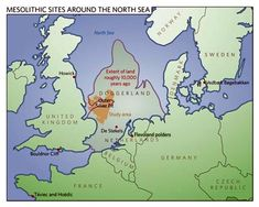 Doggerland is a former landmass in the southern North Sea that connected Great Britain to mainland Europe during/after the last Ice Age, surviving until or BCE, then gradually flooded by rising sea levels. European History, World History, Ancient History, Shipping Forecast, The Lost World, Nerd, Historical Maps, Old Maps, North Sea