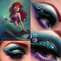 The Little Mermaid inspired eye makeup - so pretty but I would never be able to get it right!