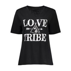 Love Tribe Graphic Tee Black (€11) ❤ liked on Polyvore featuring tops, t-shirts, graphic tees, tribal print tops, tribal top, graphic design tees and graphic print tees